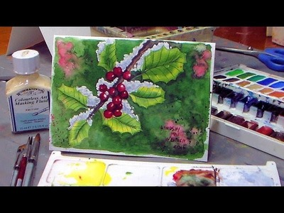 How To Paint Holly in Watercolor! Christmas Card Idea