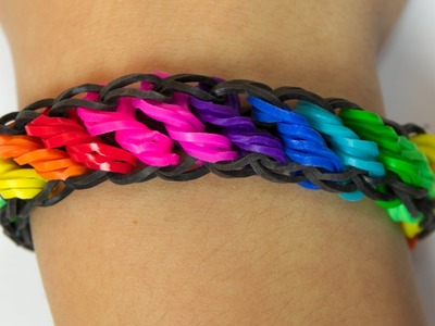 Loom Bands Česky - RAINBOW ROTATING LOOM BRACELET - Tutorial
