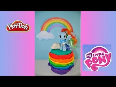 RAINBOW DASH PLAY DOH CAKE! How to Make a My Little Pony Rainbow Dash Cake Decoration with Play Doh