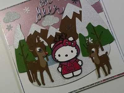 2014 #2 Christmas Scene Hello Kitty Card Oh Deer