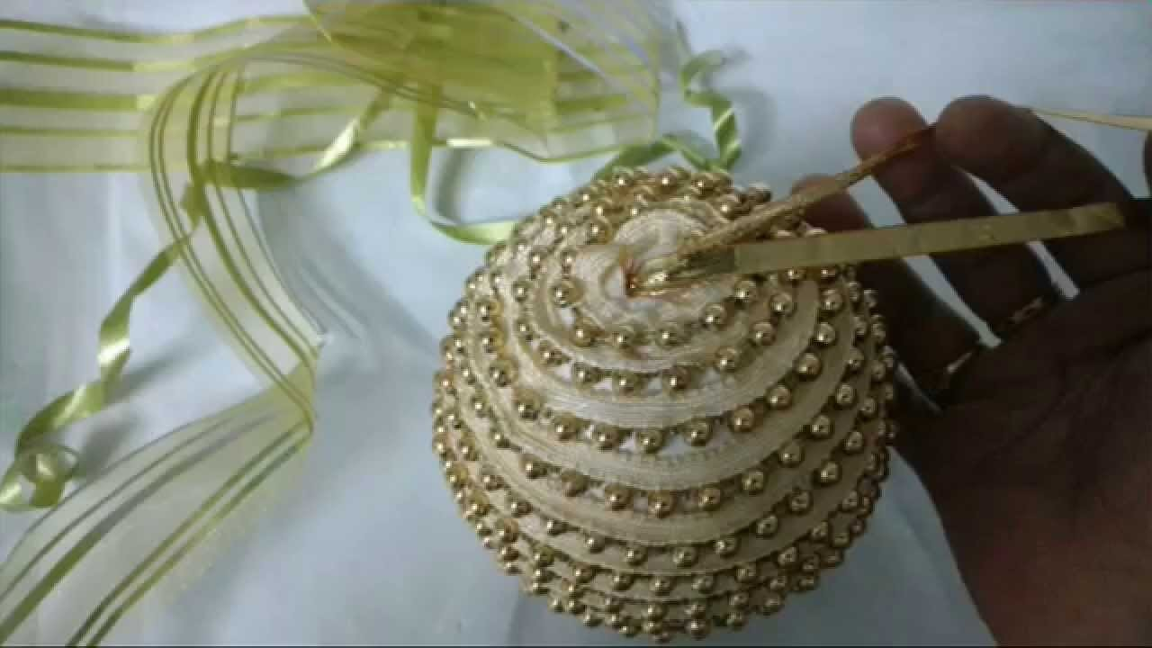 DIY Make Easy Golden Christmas Ornament.Thermacoal Ball Craft