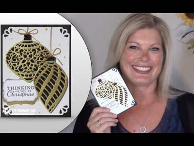 How to make a Stampin Up Delicate Ornament Glimmer Christmas Wow Card