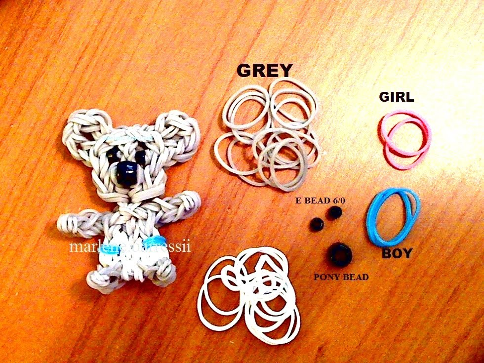 "How to Make DIY (Amigurumi) "" 3D Baby Koala"" from Rainbow Loom. On the Loom."