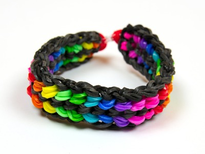 Loom Bands česky - Rainbow double capped dragon scale bracelet - Tutorial