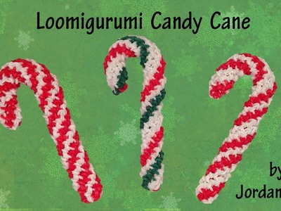 New 3D Loomigurumi. Amigurumi Candy Cane - Christmas - Quick & Easy - Rainbow Loom - Hook Only