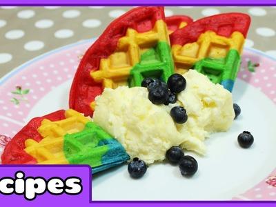 Rainbow Waffles Recipe | Fun Breakfast Ideas | Learn how to Cook with HooplaKIdz Recipes
