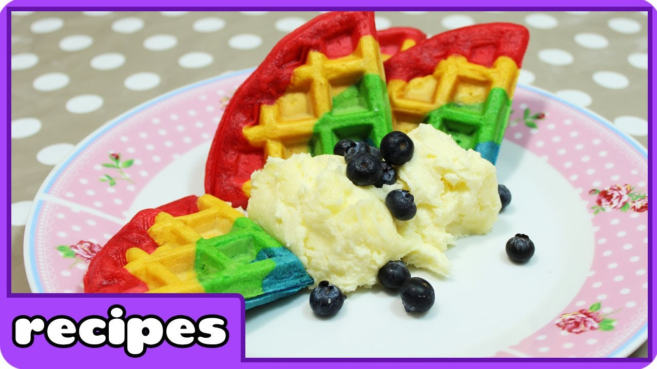 Rainbow Waffles Recipe | Fun Breakfast Ideas | Learn how to Cook with HooplaKIdz Recipes