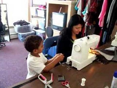 Sewing with my nephew