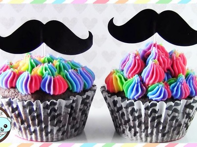 RAINBOW CUPCAKES, MUSTACHE CUPCAKES - BY SUGARCODER