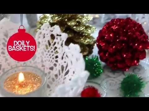 Christmas Doily Baskets