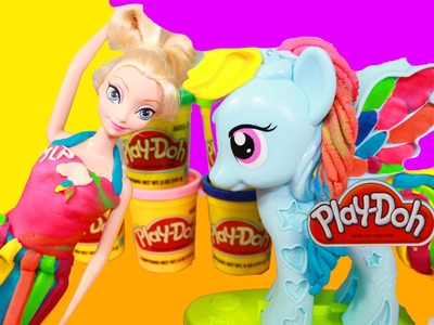 Disney Elsa Frozen Play-Doh Makeover MLP Rainbow Dash Princess Playdough Dress Rarity Toy Video