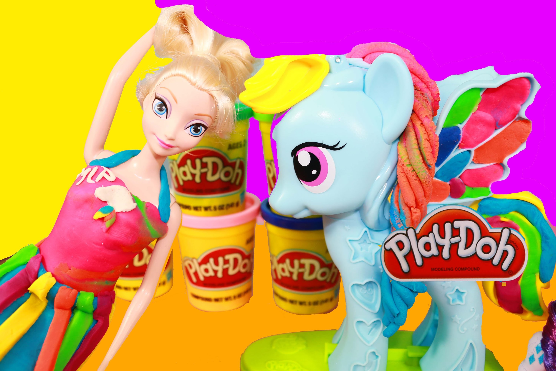 Disney Elsa Frozen Play-Doh Makeover MLP Rainbow Dash Princess Playdough Dress Rarity Toy Video