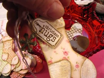 My first Christmas Tags of 2014 and a card.thrift share. .