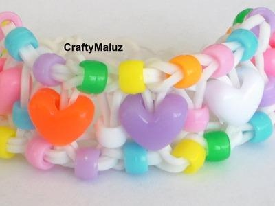 Rainbow Loom Candy Heartsbracelet . Pulsera de Gomitas Dusel de Corazones