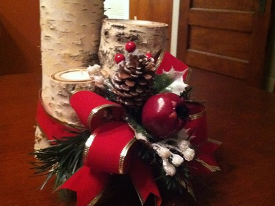 Christmas Centerpiece Making with Birch Logs and Votive Candles