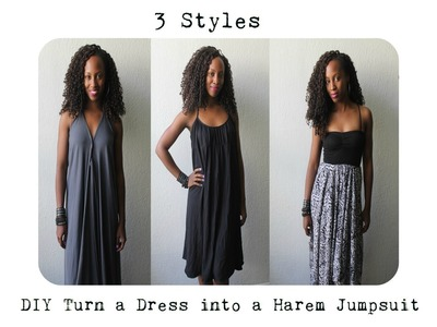 DIY| Turn a Dress Into a Harem Jumpsuit