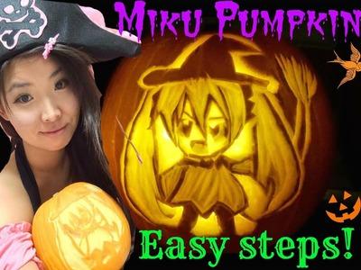 HOW TO CARVE Miku Hatsune on Pumpkin (*´∀`*) DIY HALLOWEEN