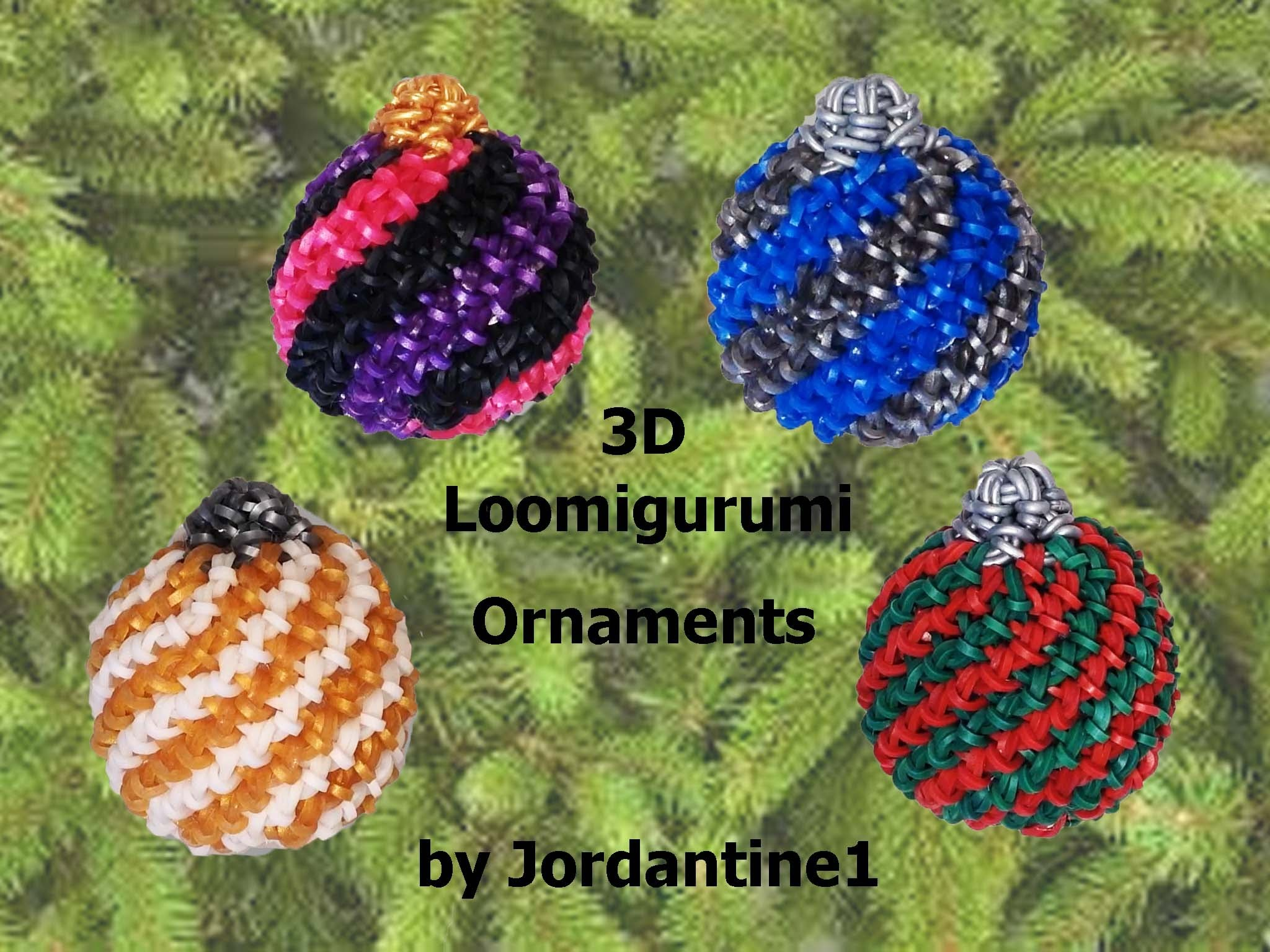 New 3D Loomigurumi. Amigurumi Christmas Ball Spiral Ornament - Hook Only - Rubber Band Crochet