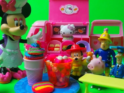 MINNIE MOUSE HELPS HELLO KITTY AND MAKES PLAY-DOH RAINBOW COOKIE AND ICE CREAM FOR FIREMAN SAM