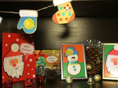 Xmas Ornaments from Cotton Pads & Paper. Santa Christmas Card