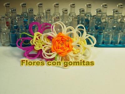 Cómo hacer flores de gomitas. Flowers Rainbow Loom