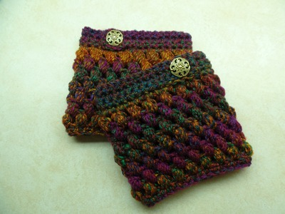 #Crochet Puff Cuffs Puff Stitch Boot Cuffs #TUTORIAL