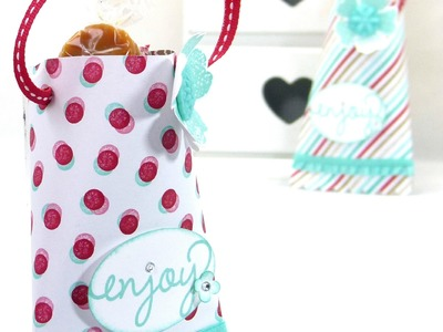 Hanging Treat Pouch Tutorial using Stampin' Up! Fresh Prints DSP