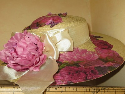 How to Decoupage a Hat Shabby Roses Summer Hat