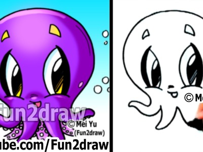 How to Draw Cartoon Characters - How to Draw an Octopus - Easy Drawings - Fun2draw