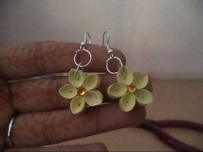 Quilled Earrings : Beautiful tight coil flower