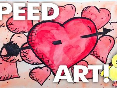 Speed Art - Super Hero Valentine Heart Cartoon - Watercolors