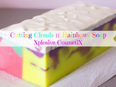 Cutting Clouds n' Rainbows Soap - Rainbow neon colors with a side by side swirl