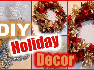 DIY Holiday Decorations │ Dollar Tree Christmas Decor │ Wreath & Mini Trees!