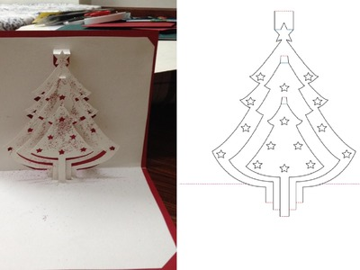 DYI Christmas Tree Pop Up Card Tutorial - Free Pattern