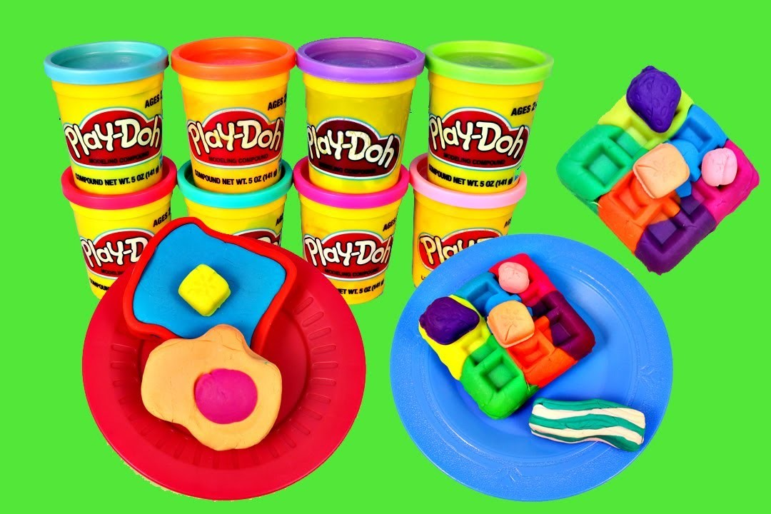 Play Doh CRAZY Colors Breakfast RAINBOW PlayDough Waffles Food DisneyCarToys