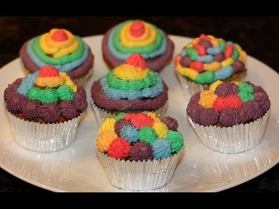 Rainbow cupcakes decoration