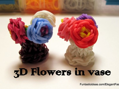 Rainbow Loom 3D Mini Flowers in Vase charm - How to - Mother's Day Gift Idea