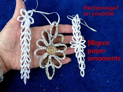 DIY -Filligree Christmas Ornaments from paper, Paper Ornaments, recycle, paper crafts