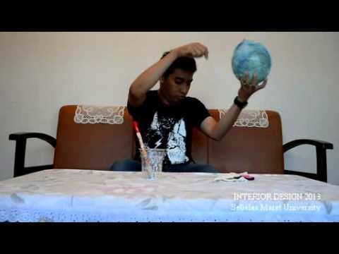 How To Make A Cotton Ball Lamp From Sewing Thread & Balloon
