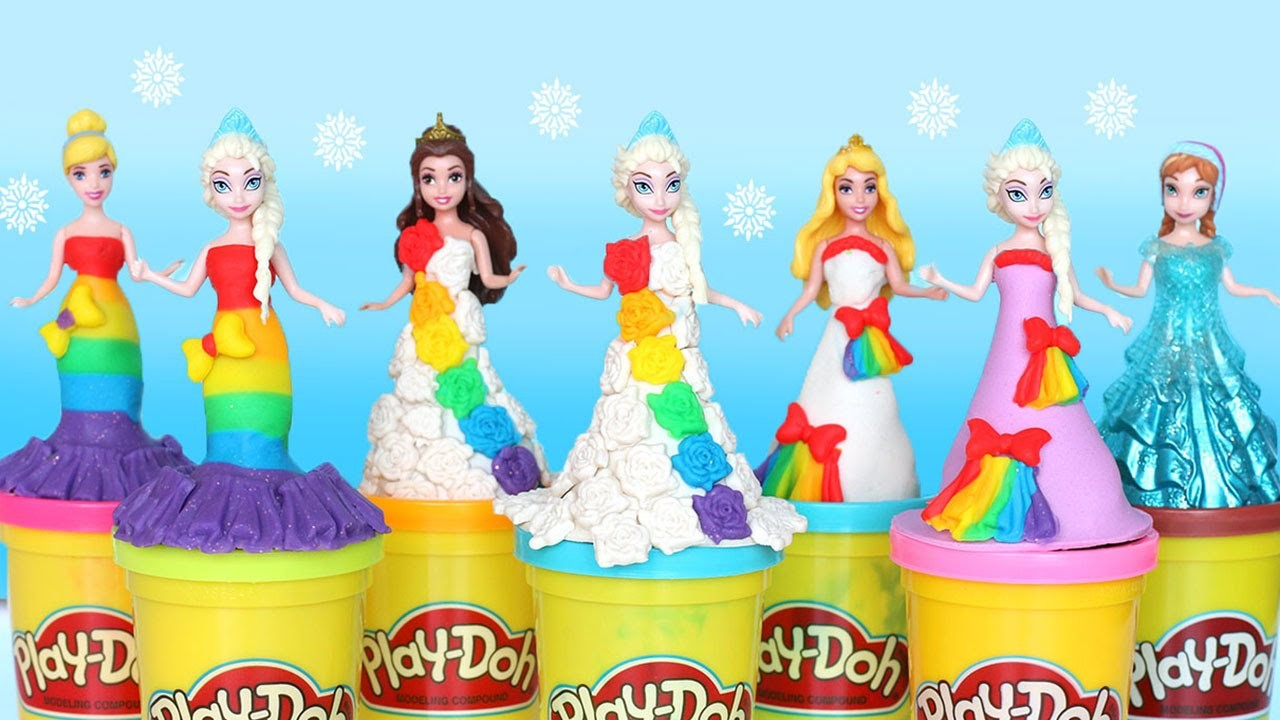Play-Doh Rainbow Dresses Maker Princess Dress Up Disney Frozen Elsa MagiClip Videos #5