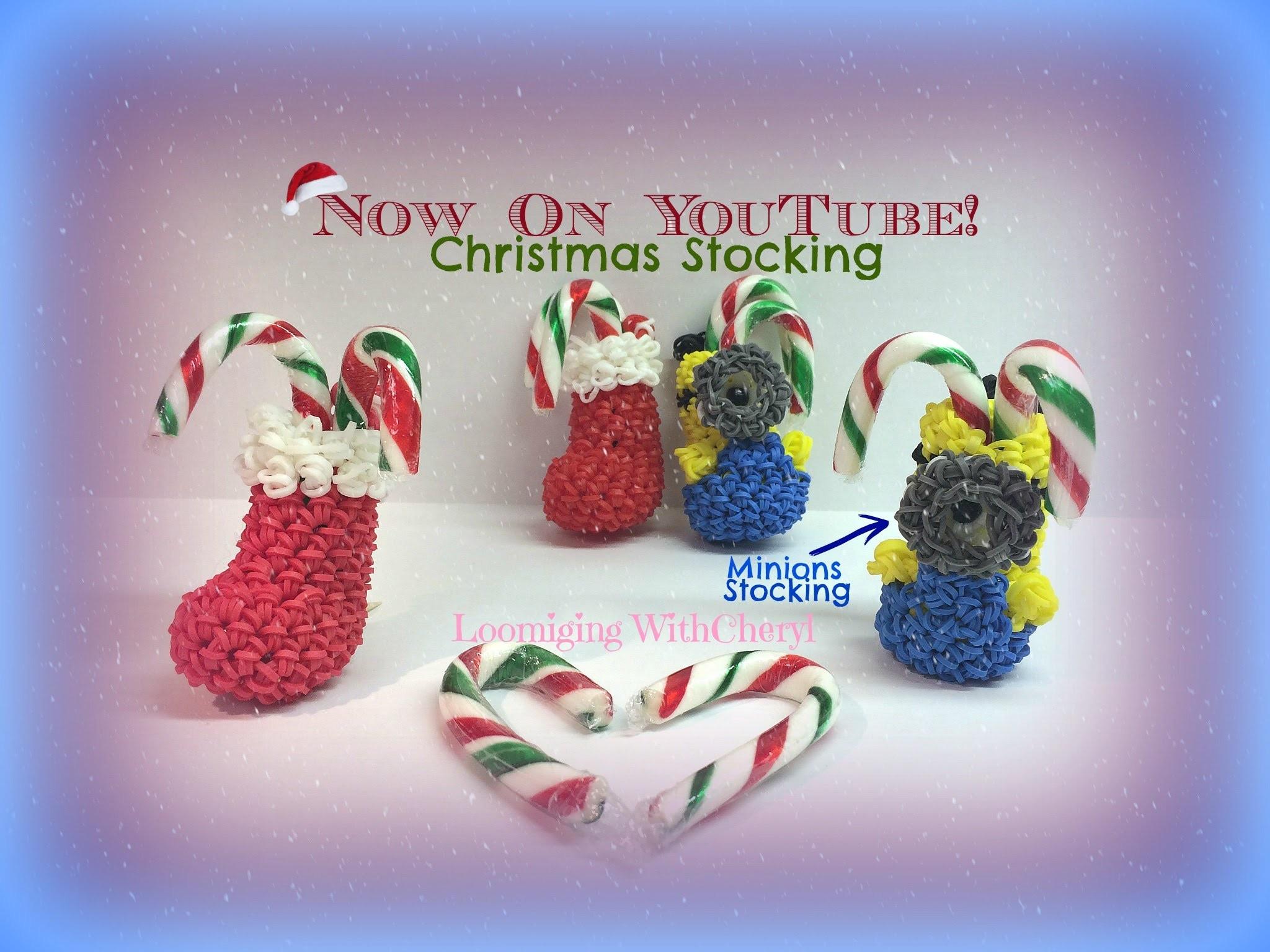 Rainbow Loom MINION Santa Boot. Christmas Stocking Ornament Loomigurumi Amigurumi Hook Only