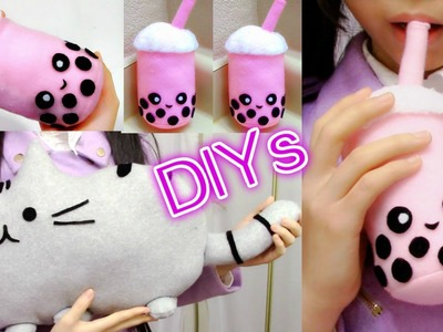 Room Decor.Holiday Gifts DIYs:  DIY Pusheen Cat Pillow.Plush+DIY Bubble Tea Plush+Review