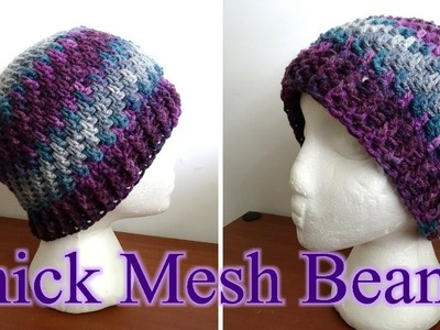 Thick Crochet Mesh Beanie - Left Handed Crochet Tutorial