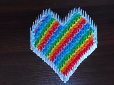3D origami heart of rainbow tutorial