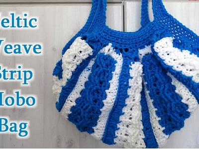 Celtic Weave Strip Hobo Bag - Left Handed Crochet Tutorial