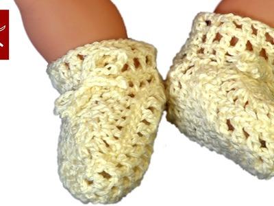 Crochet Baby Bootie 1 Tutorial
