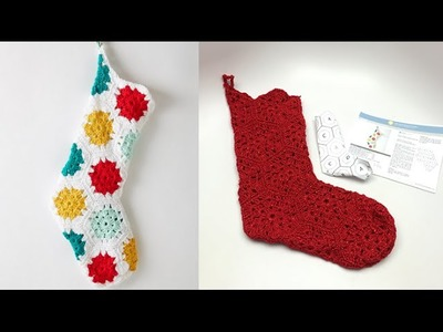 Crochet Hexagonal Granny Christmas Stocking Tutorial