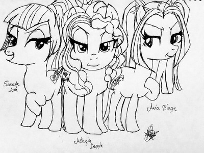 ★Drawing The Dazzlings (PONY) Equestria Girls Rainbow Rocks ★YITSU.MELODY★