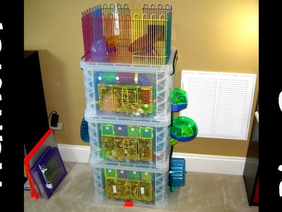 Homemade Triple-Decker Hamster Bin Cage with Rooftop Deck by HAMMY TIME