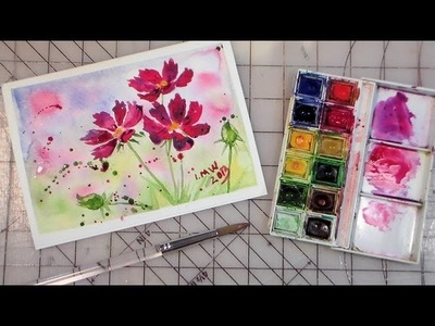 How to paint cosmos easy fULL TUTORIAL